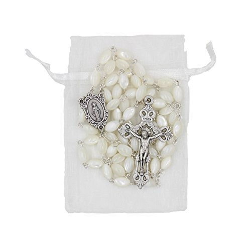 (Mother of Pearl Oval Bead Italian Made 23-inch Rosary )