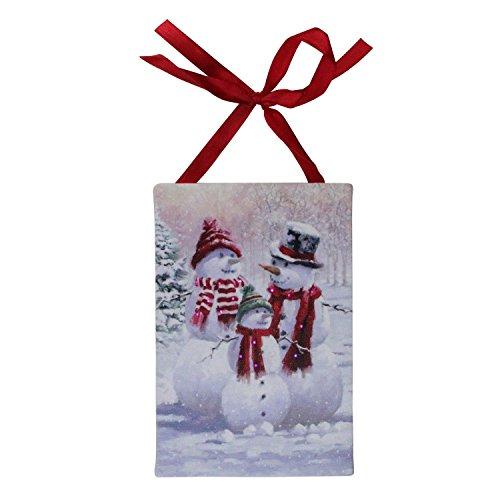"Northlight 6""x4"" Pre-Lit Multicolor LED Fiber Optic Snowman Family Winter Scene Christmas Wall Art Decoration"