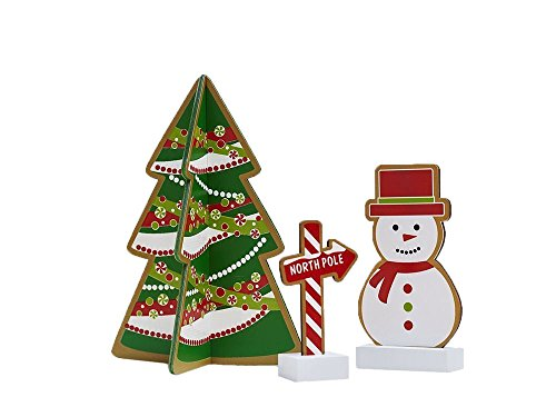 North Pole Snowman - Holiday Christmas Decorative Gingerbread Cookie Inspired 3 Piece Set - Tree, Snowman, & North Pole