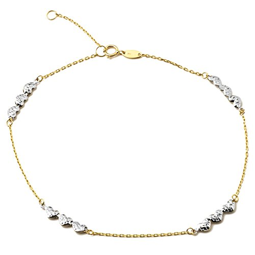 LOVEBLING 10K Yellow Gold .5mm Rolo Chain with 3 White Gold Diamond Cut Heart Charms Anklet Adjustable 9