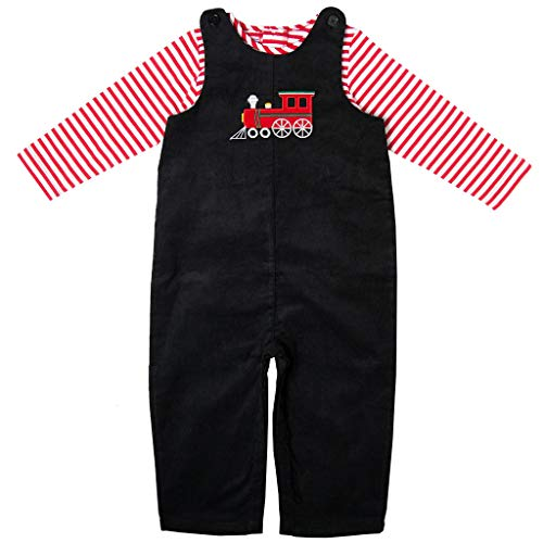 Good Lad Newborn/Infant Appliqued Overall Set with Red and White Knit Bodysuit (24M, Black)