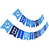 Puppy Happy Birthday Banner | Boy Birthday Sign | Paper Card Stock Bday Party Decoration - Blue