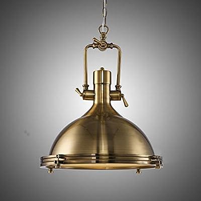 JINGUO Lighting Industrial Vintage Style 1-Light Pendant Lights Ceiling Lamp Chandelier Hanging Light Fixture with Black Bowl for Indoor Restaurant Bar Cafe
