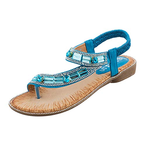 Women's Ladies Bohemian Toepost Crystal Elastic Band Beach Sandals Roman Shoes Gladiator Sandals Blue