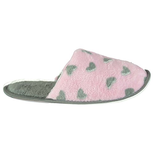 FS Mujer Mule Señoras Pantuflas Chancletas Zapatillas Calzado Gris/Rosa