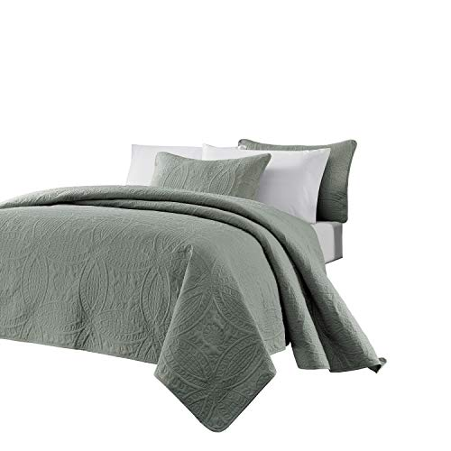 Chezmoi Collection Austin 3-Piece Oversized (118x106) Bedspread Coverlet Set King, Sage