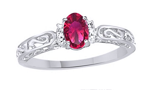Jewel Zone US Simulated Ruby & White Natural Diamond Solitaire Engagement Ring in 10k Solid Gold (0.44 Cttw) (2 Carrot Diamond Engagement Ring)