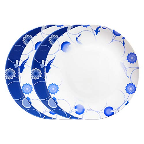 ZENS Bone China Dinnerware Set,10 Inch Bone China Dinner Plates Set of 4, Blue and White Floral Serving Plates for Housewarming Mother's Day ()