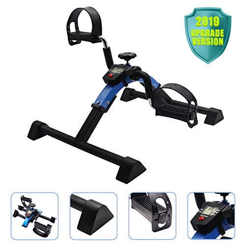 EF Pedal Exerciser Mini Stationary Bike,Foot Peddler Treadmill Seated Chair Cycler Seniors Elderly,Arms Legs Workout,Folding Exercise Bike LCD Molitor