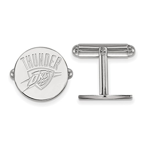 NBA Oklahoma City Thunder Cuff Links in Rhodium Plated Sterling Silver by LogoArt