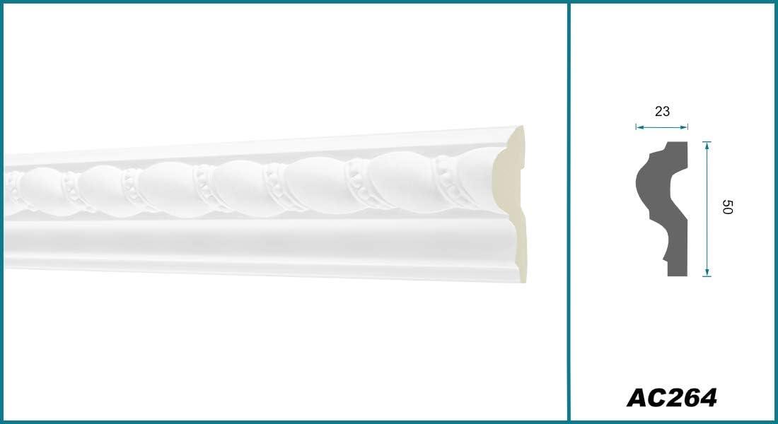 AC264 Hexim Perfect 2 Meter Flachprofil 50x23mm sto/ßfest Flachleiste Dekorleiste Wandleiste Zierprofile wei/ß Stuckprofil aus PU gemustert