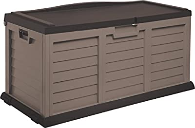 Starplast Deck Box with Sit-On Cover, 103 Gallon, Mocha/Brown