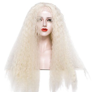 MENRY Mujer Peluca Lace Front Sintéticas Largo Afro rizado Dorado claro Con mechones Peluca de cosplay