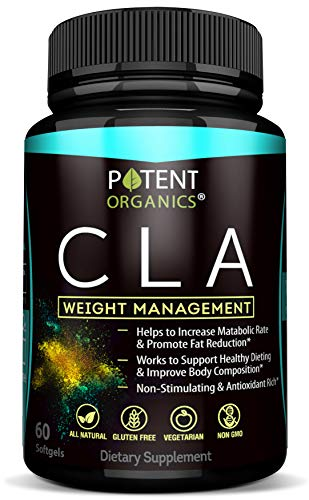 Potent CLA 1000 mg Softgels - 60 Pills - Supports Healthy Weight Loss - Natural Appetite Suppressant & Fat Burner - Made from 100% Pure Safflower Oil - 100% Money-Back Guarantee