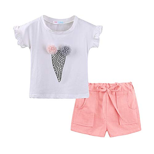 LittleSpring Little Girls' Summer Outfit Holiday Ice Cream Shorts Set Size 5 Pink -