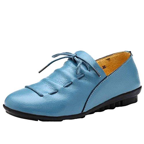 MatchLife Damen Leder Flach Schnürsenkel Schuhe Style2-Blau
