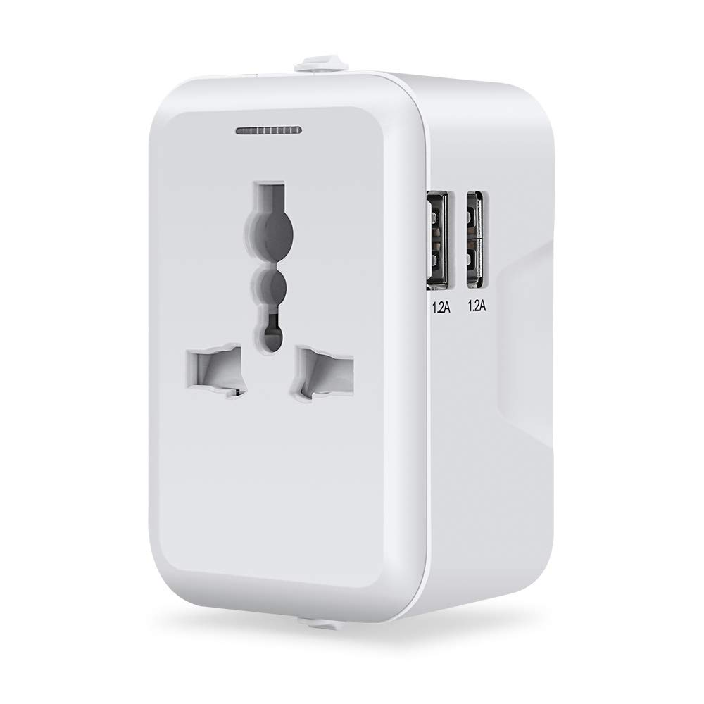 Travel Adapter, Furado Travel Power Adapter, Worldwide All in One Universal Travel Adapter, AC Plug Adapter with Dual USB Charging Ports, AUS Asia Japan ...