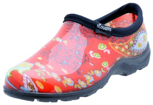 Sloggers Women's Waterproof  Rain and Garden Shoe with Comfort Insole, Paisley Red, Size 8, Style 5104RD08