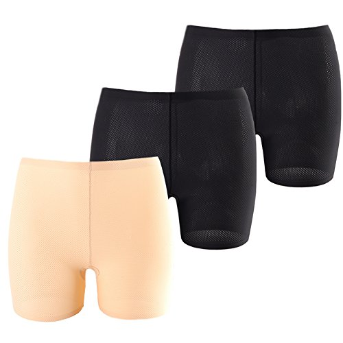 Ride Spandex Shorts (Innersy Women's 3 Pack Lightweight No Ride Up Seamless Thigh Shorts Leggings Tights 6 S)