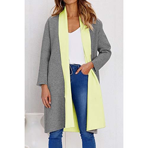 abierto Abrigo Invierno Block Invierno Color Yellow Coat tamaño S Coats tallas Mujeres Thick ZFFde Long grandes Color Cardigan 8qxnvzwzd