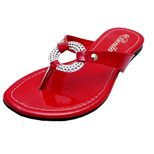 Bonita Womens Flip Flops Thong Flat Sandals V-08 Red AIRZGJDhp