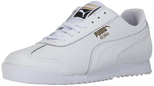 PUMA Men's Roma Classic Perf Sneaker, White Team Gold White,9 M US