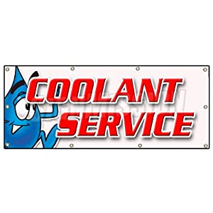 "36""x96"" COOLANT SERVICE BANNER SIGN car mechanic auto shop service maintenance"