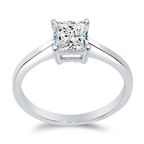 Sterling Silver Classic Princess Solitaire Engagement Ring Cathedral Wedding Ring Square CZ 1.0ct