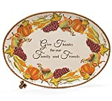 Large Thanksgiving/Autumn Platter With Harvest Fruit/Vegetable Design For Holiday Dining