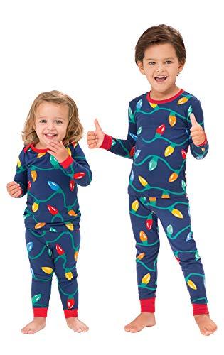 PajamaGram Christmas PJs for Kids - Cotton Christmas Pajamas Toddler, Blue, 2T