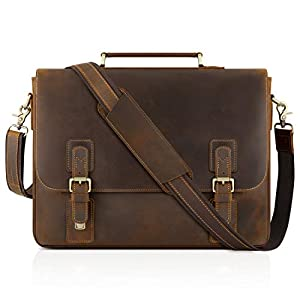 "Kattee Men's Leather Satchel Briefcase, 15.6"" Laptop Messenger Shoulder Bag Tote"