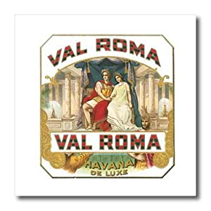 ht_170120_2 BLN Vintage Cigar and Cigarette Labels - Val Roma Havana De Luxe Vintage Cuban Cigar Label Reproduction - Iron on Heat Transfers - 6x6 Iron on Heat Transfer for White Material
