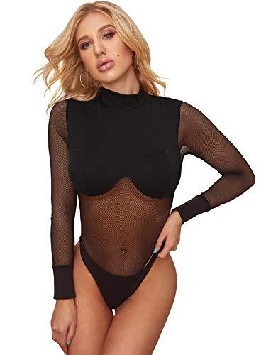 DIDK Women's Sexy Contrast Mesh Sheer Stand Collar Long Sleeve Bodysuit Black M
