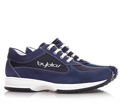 BYBLOS - haussure à lacets bleue en suède et tissu, avec logo latéral, coutures visibles et semelle en caoutchouc, garçon, garçons