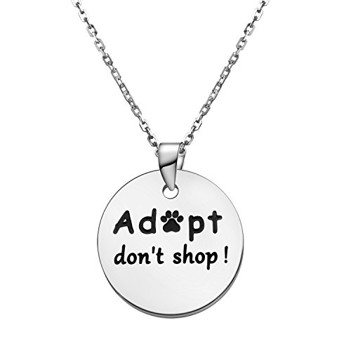 KUIYAI Adopt Don't Shop Dog Charity Necklace Animal Lover Gift (Adopt Necklace Silver)