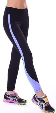 Margarita - Designer Activewear - Black Hot Pants with Lavender Mesh Stripe - Small