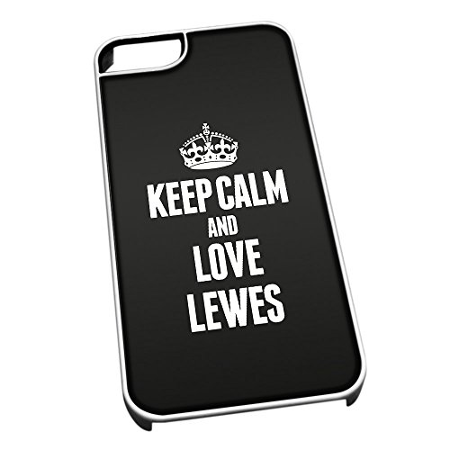 Bianco Cover per iPhone 5/5S 0386 Nero Keep Calm And Love Lewes