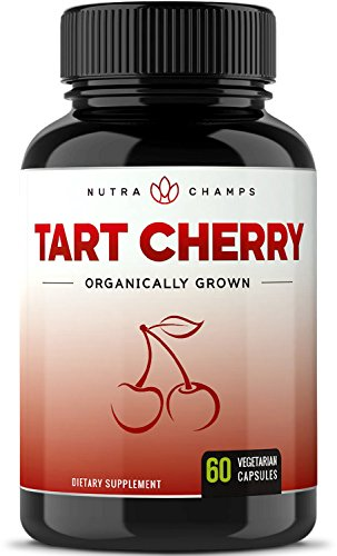 Organic Tart Cherry Concentrate - 1000mg Supplement - Premium Uric Acid Cleanse Cherry Juice Extract Powder Pills for Inflammation, Pain Relief, Muscle Recovery & Sleep - 60 Vegan Capsules