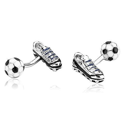 Beydodo Men's Ball Return Cufflinks Stainless Steel (Shirt Accessories) Football and Shoe Black (Ball Watch Engineer Ohio)