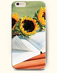 SevenArc Phone Case for iPhone 6 Plus 5.5 Inches with the Design of Books and sunflowers
