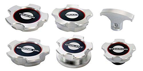 2005-2010 Mustang V6 Billet Aluminum Engine Caps Set - Carbon Fiber Labels