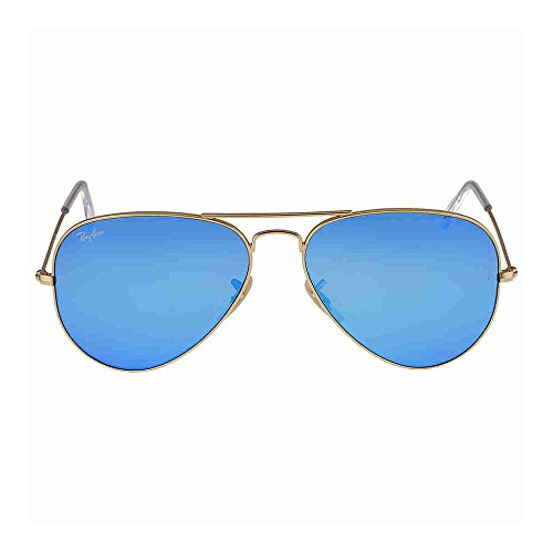 Ray-Ban Aviator Large Metal Sunglasses RB3025- Matte Gold Frame, Crystal Blue Mirror RB3025-112-17-58 by Ray-Ban