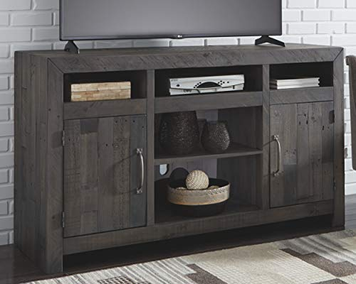 (Signature Design by Ashley W729-68 Mayflyn LG TV Stand with Fireplace Option Charcoal)