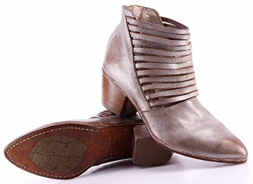Scarpe Stivaletto Donna MOMA 49504-9D Gange Argento Pelle Vintage Made In Italy