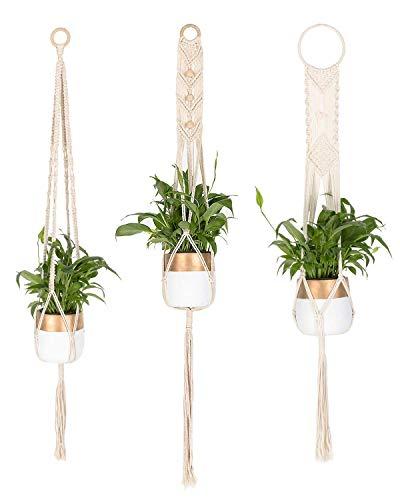 INDRESSME Macrame Plant Hangers 3 Different Pack - Handmade Indoor Outdoor Hanging Planter Basket Cotton Rope Plant Holder, Garden Patio Balcony Ceiling Decorations Modern Boho Home Decor