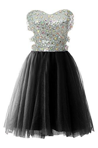 Ball Prom Formal Sequin Cutout Dress Schwarz Strapless MACloth Gown Evening Short Women qTXwx4TnzO