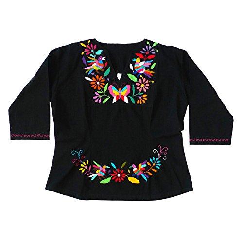 Mexican Clothing Co Womens Tenango Blouse Large Black 01