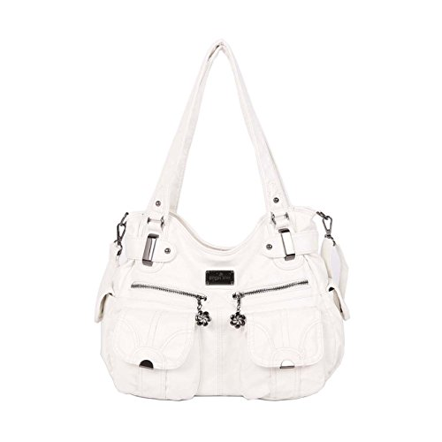 Angelkiss Two Top Zippers Multi Pockets Handbags Washed Leather Purses Shoulder Bags 5739/1 (White) …