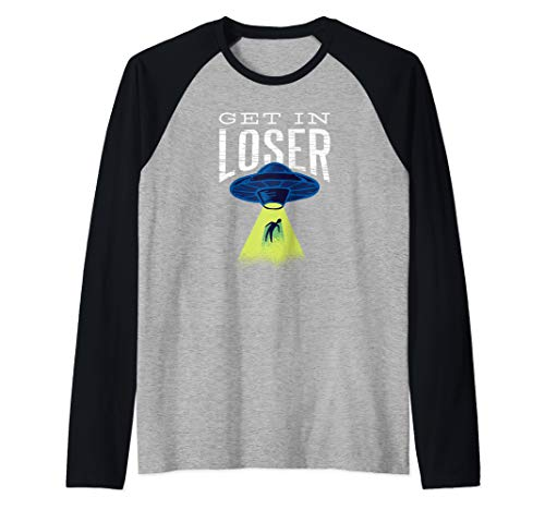 Get In Loser T Shirt Alien UFO Gift Cool Stuff for Kids Boys Raglan Baseball Tee]()