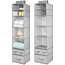 mDesign Soft Fabric Over Closet Rod Hanging Storage Organizer with 7 Shelves and 3 Removable Drawers for Child/Kids Room or Nursery - Herringbone Print, 2 Pack - Gray